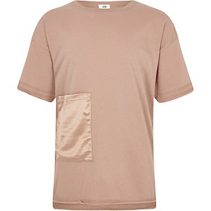 Girls beige satin pocket T-shirt