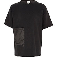 Girls black satin pocket T-shirt
