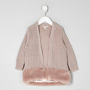 Mini girls pink fur hem metallic cardigan