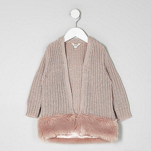 Mini girls pink faux fur hem cardigan