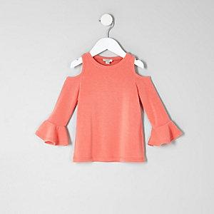 Mini girls coral cold shoulder frill top