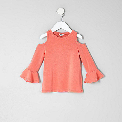 Mini girls coral cold shoulder frill top