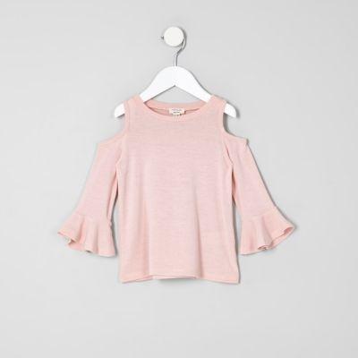 Mini Roze schouderloze top met ruches voor meisjes