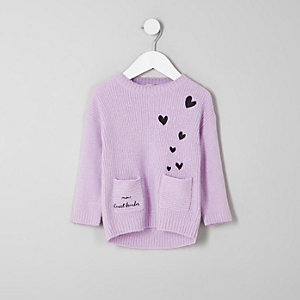 Mini girls 'mini heart breaker' knit jumper