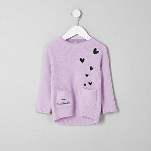 Mini - Gebreide pullover met 'Mini heart breaker'-print voor meisjes