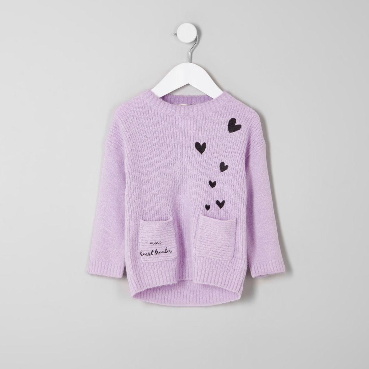 Mini girls 'mini heart breaker' knit jumper