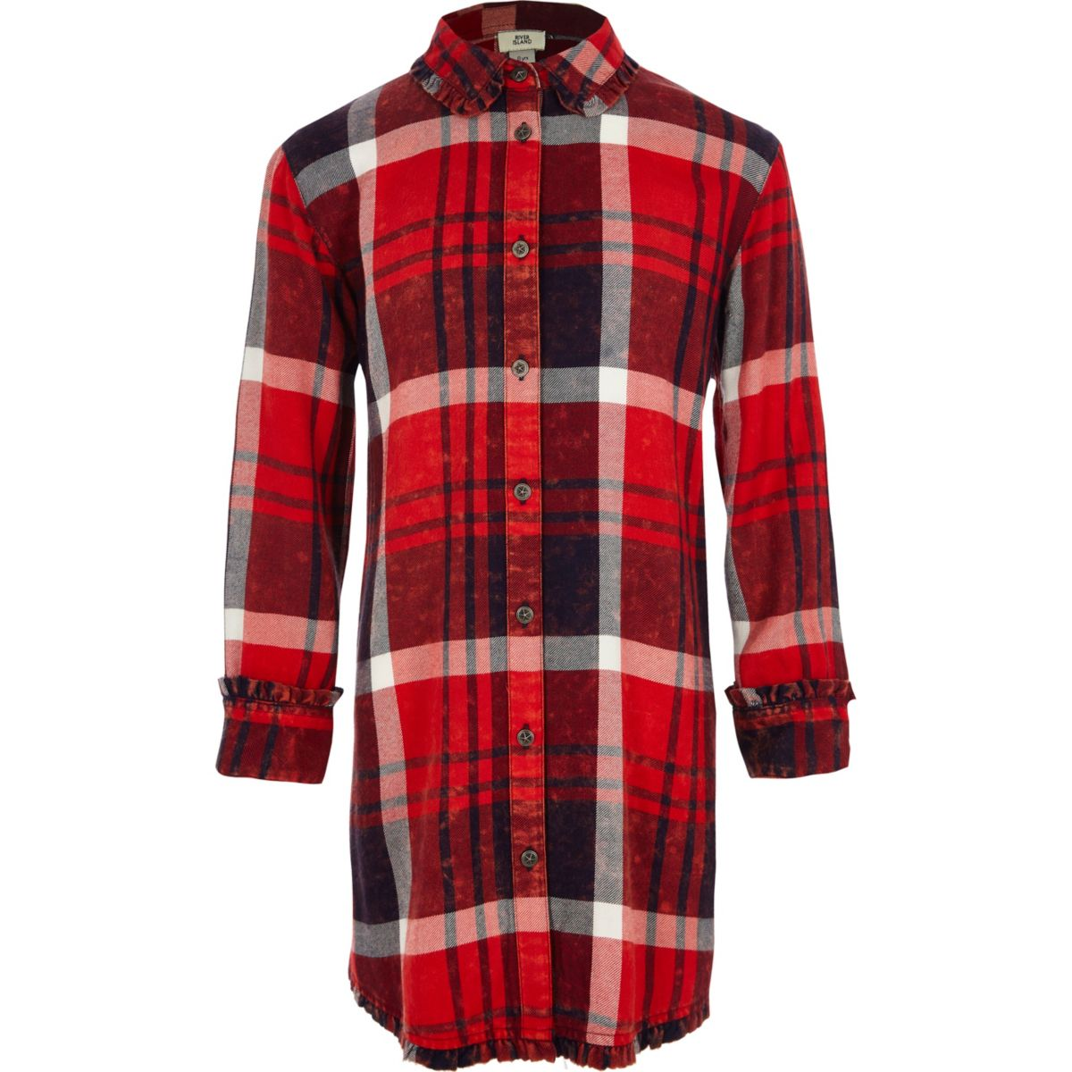 Girls red check frill trim shirt dress