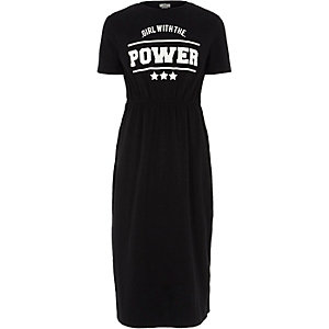 Girls black 'power' print maxi dress