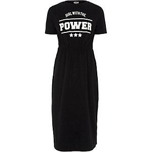 Zwarte maxi-jurk met 'power'-print voor meisjes