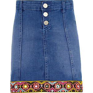 Girls blue embellished trim denim skirt