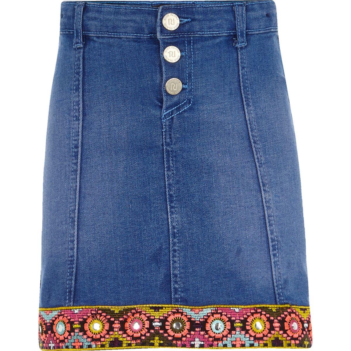 Girls blue embellished trim denim skirt