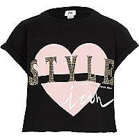 Girls black 'style' print cropped T-shirt