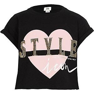 T-shirt court noir à imprimé «style» pour fille