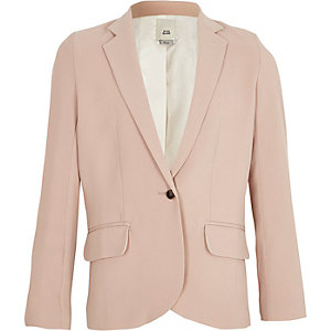 Girls light pink slouch blazer