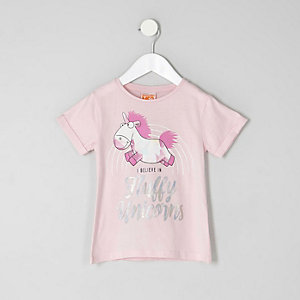 Mini girls pink 'fluffy unicorns' T-shirt