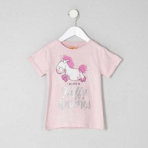 Mini - Roze T-shirt met 'fluffy unicorns'-print voor meisjes