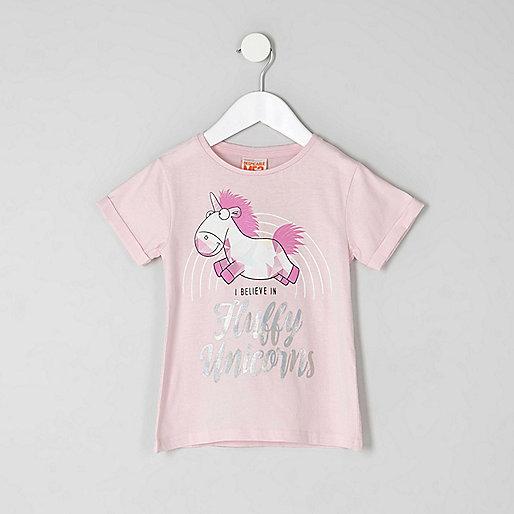 Mini girls pink 'fluffy unicorns' T-shirt