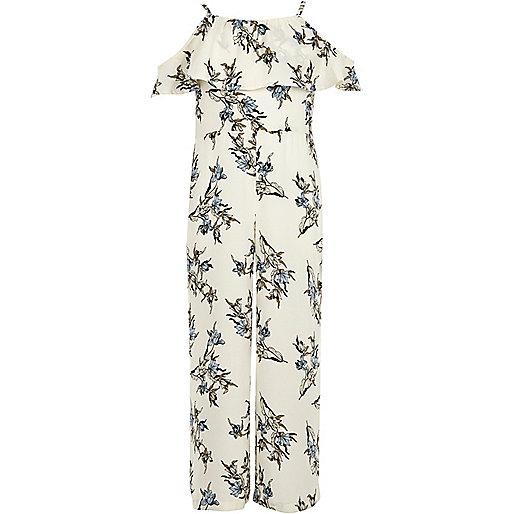 Girls white floral cold shoulder jumpsuit