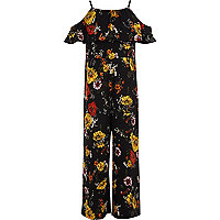 Girls black floral print frill jumpsuit