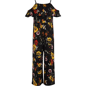 Combinaison fleurie noire avec manches à volants pour fille