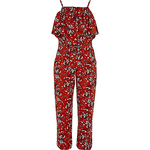Girls red floral frill cami jumpsuit
