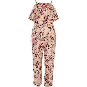 Girls pink floral frill cami jumpsuit