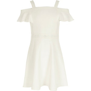Girls white cold shoulder frill skater dress