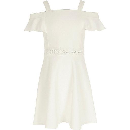 Girls white cold shoulder frill skater dress