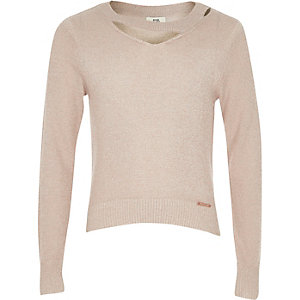 Girls light pink cut out metallic knit jumper