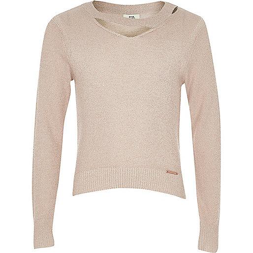 Girls light pink cut out lurex knit jumper
