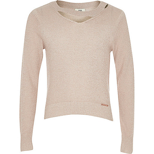Girls light pink cut out lurex knit sweater