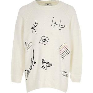 Crème pullover met doodle-print voor meisjes