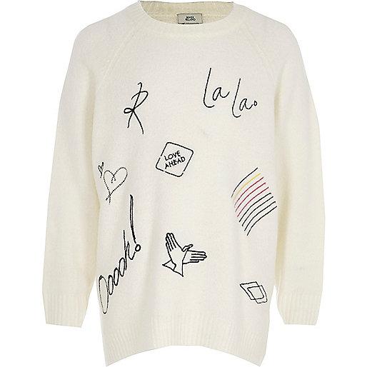 Girls cream doodle sweater