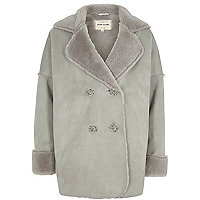 Girls grey faux shearling coat