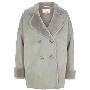 Manteau imitation mouton gris pour fille