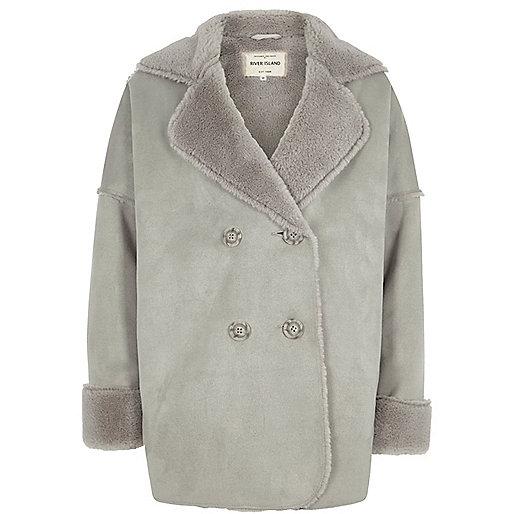 Girls grey faux shearling coat