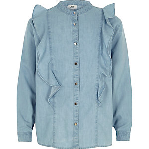 Girls light blue denim frill shirt