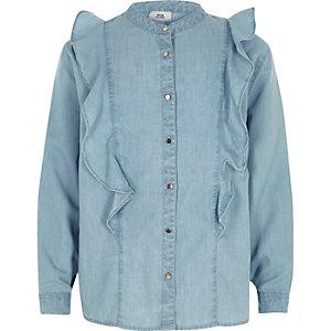 Lichtblauw denim overhemd met ruches voor meisjes