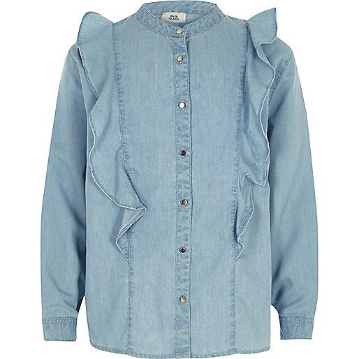 Girls light blue denim frill shirt