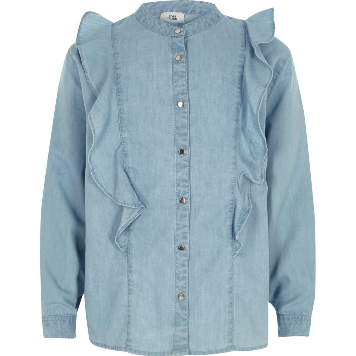 Chemise en jean bleu clair à volants pour fille