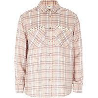 Girls lilac check faux pearl pocket shirt