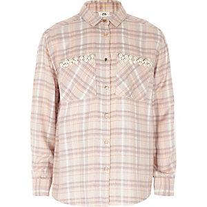 Paars geruit overhemd met imitatiepareltjes en zak voor meisjes