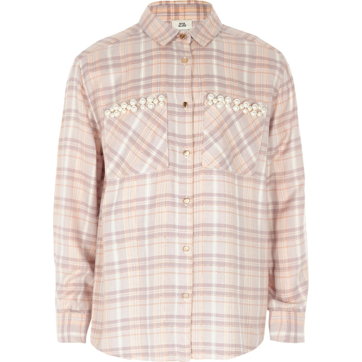 Girls lilac check faux pearl pocket shirt
