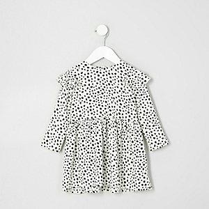 Babydoll-Kleid mit Rüschen und Animalprint in Creme