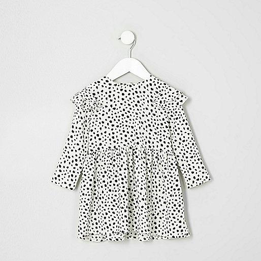 Mini girls cream animal frill babydoll dress