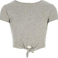 Girls grey knot front T-shirt