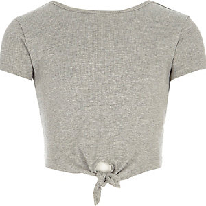 Girls grey knot front T-shirt