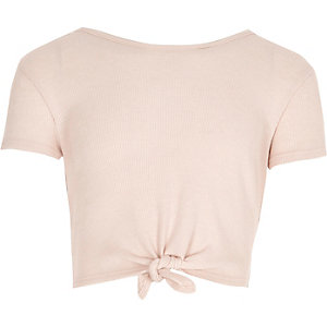 Girls light pink knot front T-shirt