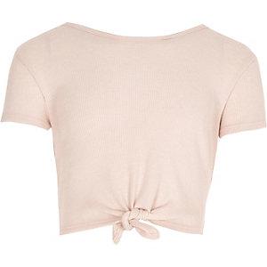 Lichtroze T-shirt met geknoopte voorkant voor meisjes