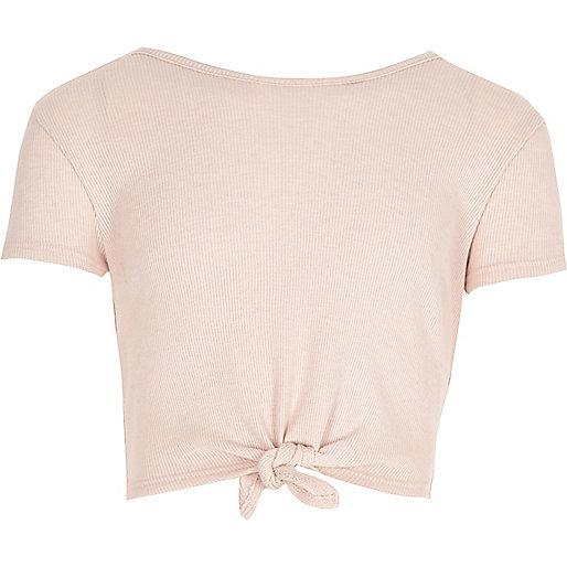Girls light pink knot front T-shirt